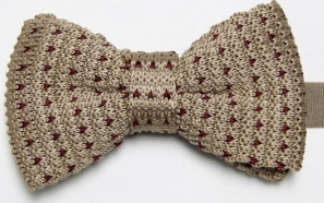 Beige Knitted Bow Tie with Purple Pattern