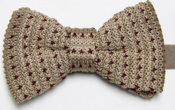 Beige Knitted Bow Tie With Purple Pattern With Free And Fast Uk