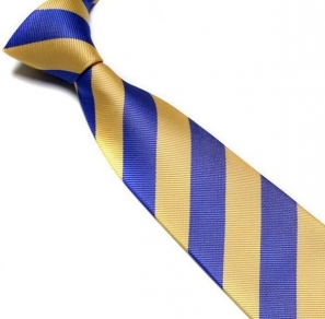 Blue and Yellow Striped Club Tie