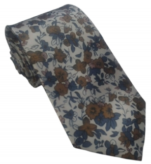 Brown and Blue Floral Design on White Tie