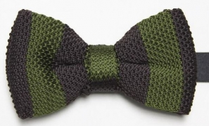 Dark Olive and Brown Knitted Bow Tie