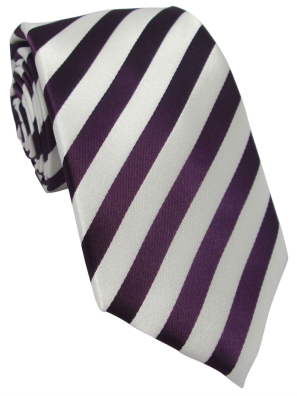 Deep Purple and White Striped Tie