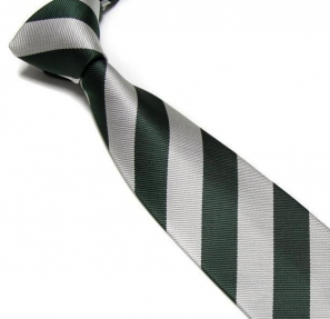 Bottle Green and Silver Striped Club Tie