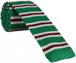 Green Knitted Tie with Thin White and Burgundy Stripes