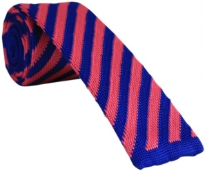 Hot Pink and Blue Knitted Tie