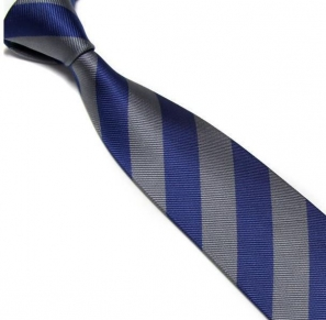 Navy and Silver Striped Club Tie