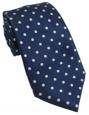 Navy Tie with White Polka Dot