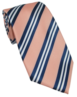 Peach Tie with Navy & White Stripes