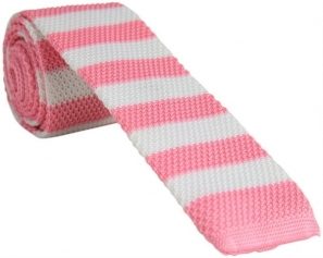 Pink and White Knitted Tie