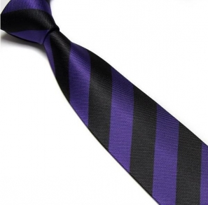 Purple and Black Striped Club Tie