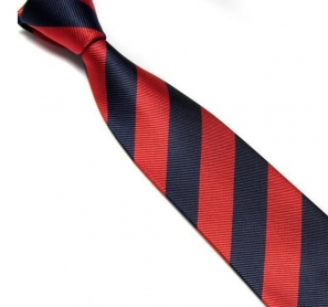 Red and Navy Striped Club Tie