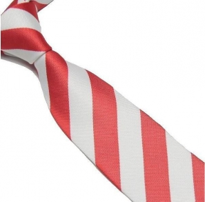 Red and White Striped Club Tie