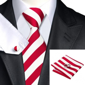 Red and White Striped Silk Tie with Matching Pocket Square