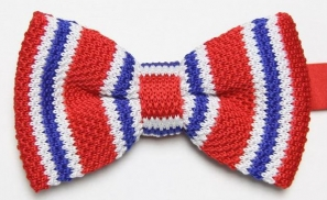 Red Knitted Tie with Blue and White Pattern