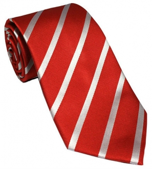 Red with White Stripes Silk Tie