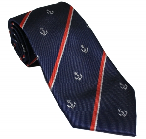 Royal Navy Anchor and Stripes Tie