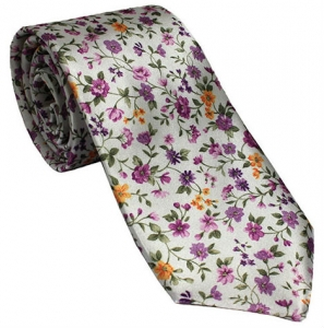 White Tie with Purple and Yellow Floral Design
