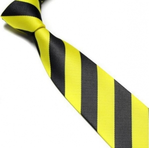Yellow and Black Striped Club Tie