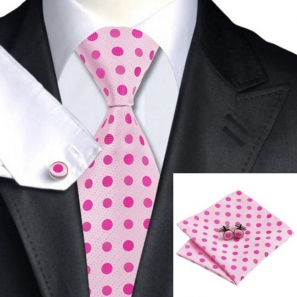 Baby Pink Silk Tie with Pink Polka Dot Matching Pocket Square and Cufflink Set
