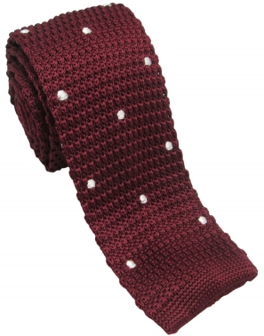 Burgundy Knitted Tie with White Polka Dots