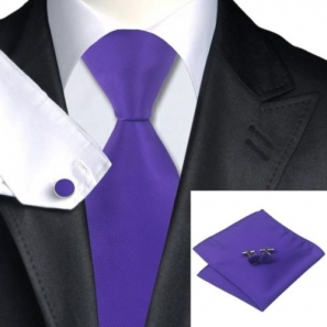 Cadbury Purple Silk Tie with Matching Pocket Square and Cufflink Set