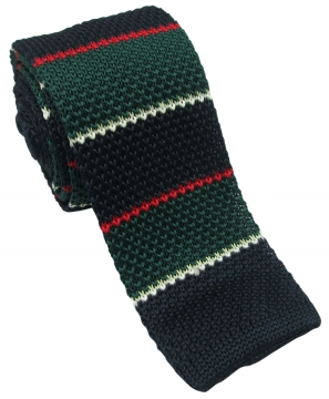 Dark Green and Navy Knitted Tie