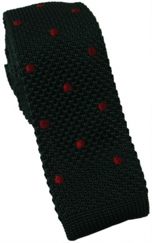 Dark Green Knitted Tie with red Polka Dot