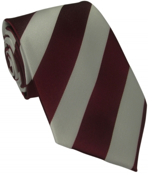 Dark Red and White Striped Silk Tie