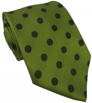Lime Green Silk Tie with Large Brown Polka Dot