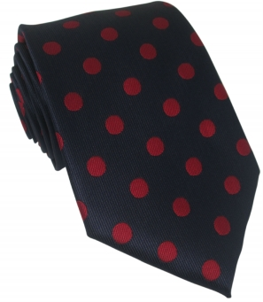 Navy Silk Tie with Large Red Polka Dot
