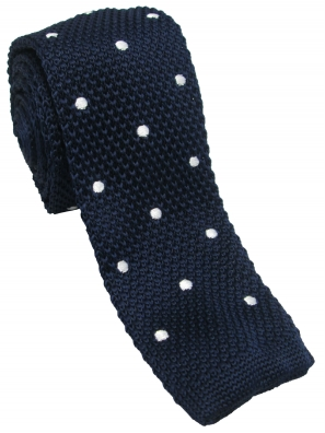 Navy with White Polka Dot Knitted Tie