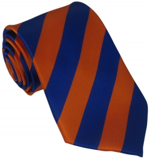 Orange and Blue Striped Silk Tie
