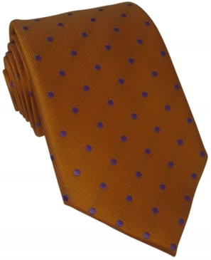 Orange Silk Tie with Lilac Polka Dot