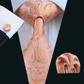 Peach Paisley Silk Tie with Matching Pocket Square and Cufflink Set