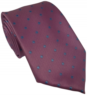 Pink Silk Tie with Blue Polka Dot