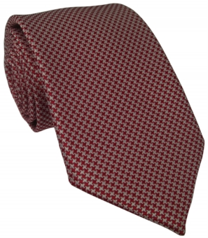 Red and White Houndstooth Silk Tie