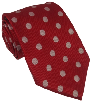 Red Silk Tie with Large White Polka Dot