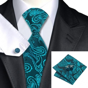 Teal Paisley Silk Tie with Matching Pocket Square and Cufflink Set