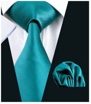 Teal Silk Tie with Matching Pocket Square