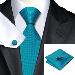 Teal Squared Silk Tie with Matching Pocket Square and Cufflink Set