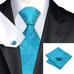 Turquoise Paisley Silk Tie with Matching Pocket Square and Cufflink Set