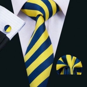 Yellow and Dark Blue Striped Silk Tie with Matching Pocket Square and Cufflink Set