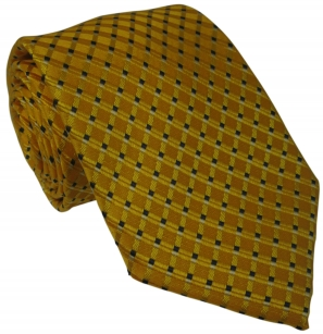 Yellow Silk Tie with Navy Pattern