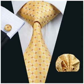 Yellow with Brown Diamonds Silk Tie with Matching Pocket Square and Cufflink Set