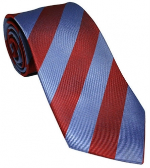 Claret and Blue Silk Tie