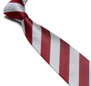 Maroon and Silver Striped Club Tie