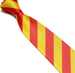 Yellow and Red Striped Club Tie
