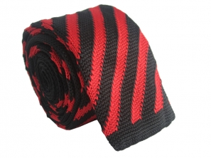 Red and Black Striped Knitted Tie