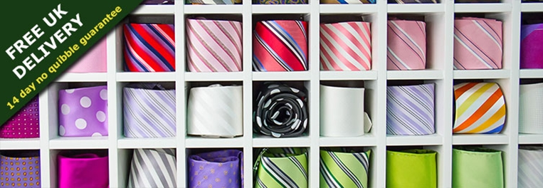 Mens ties and silk ties from a UK tie shop with orders dispatched with free and fast UK delivery