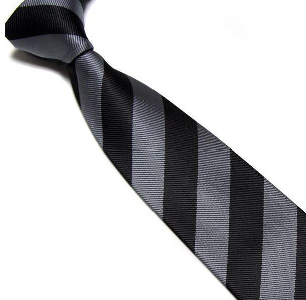 Black and Grey Striped Club Tie